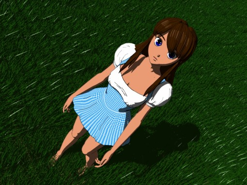 AnimeDoll Blue Dress in Grass Cel-shaded